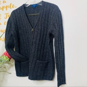 J. Crew Gray Relaxed Fit ZIP Up Sweater 100% Wool